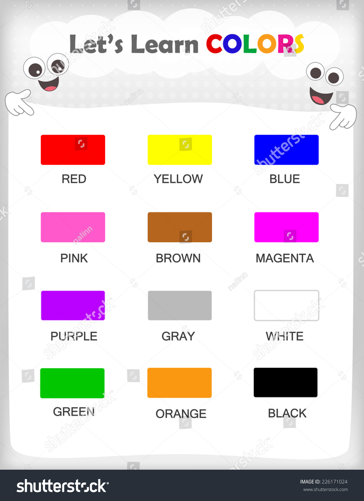 Printable Kids Learning Sheet With 12 Different Colors And
