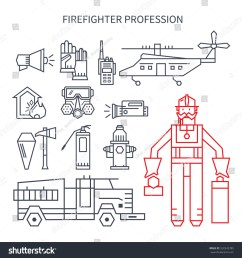 set of linear icons fire truck hose helmet helicopter  [ 1500 x 1600 Pixel ]