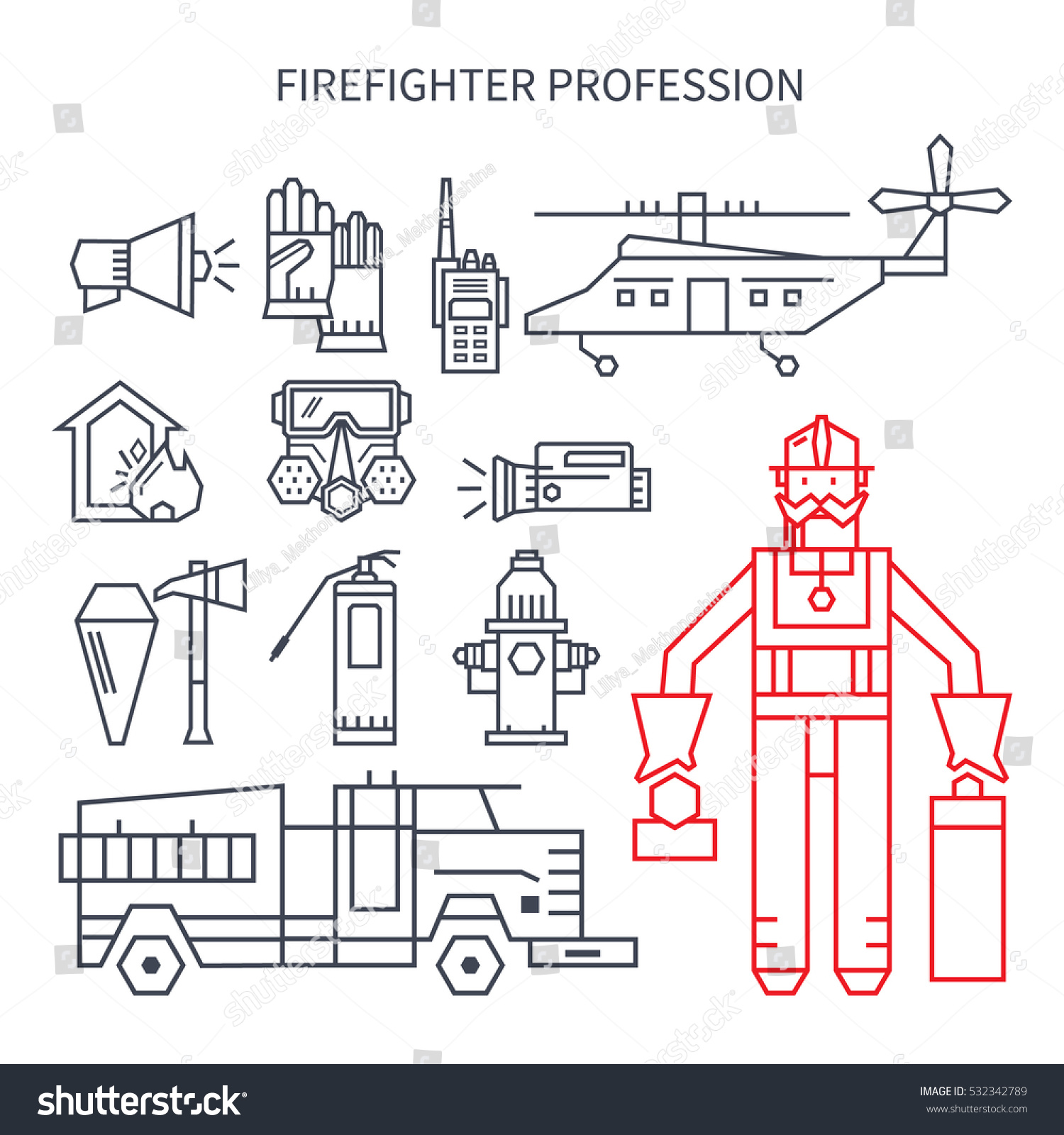 hight resolution of set of linear icons fire truck hose helmet helicopter