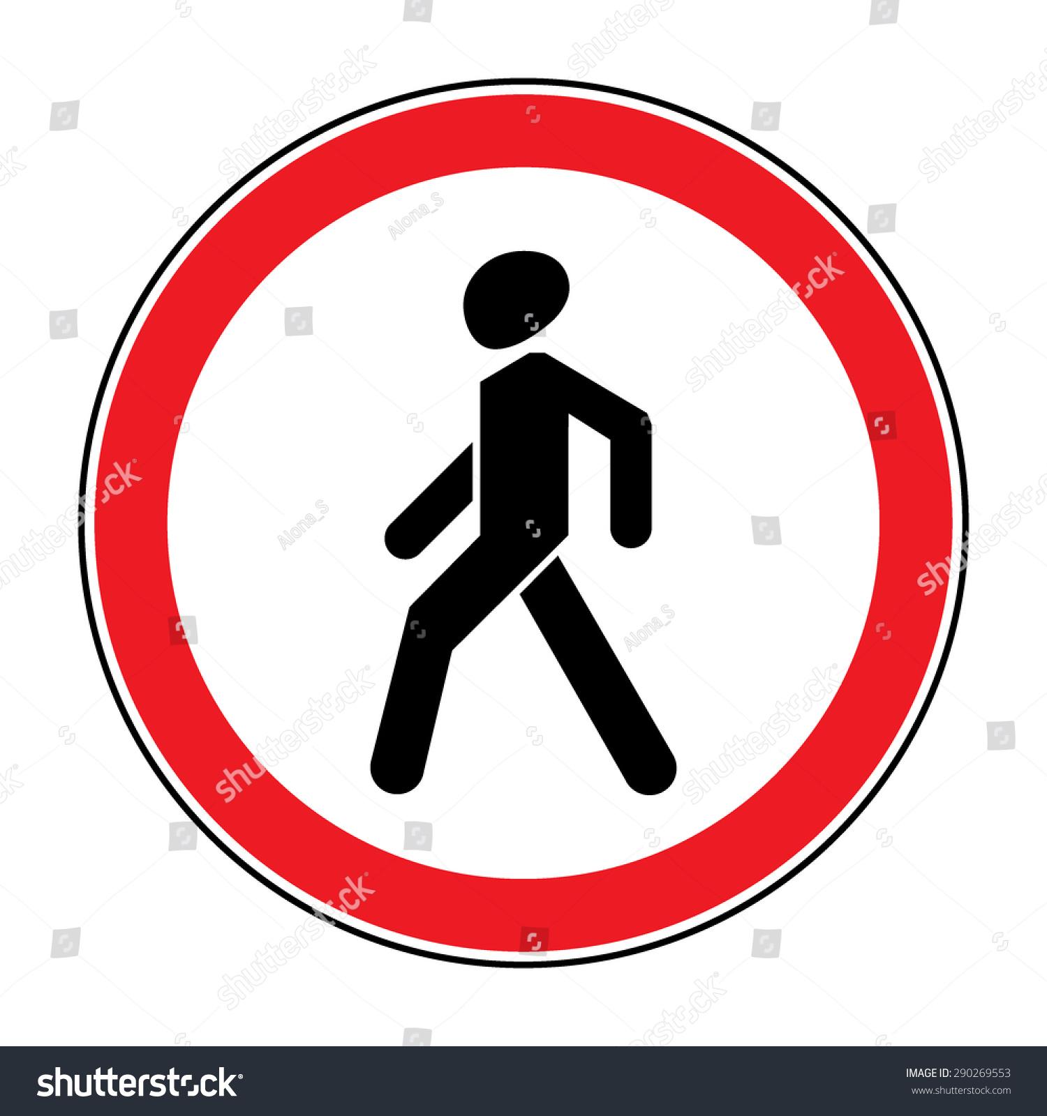 Prohibition No Pedestrian Sign No Walking Stock Vector
