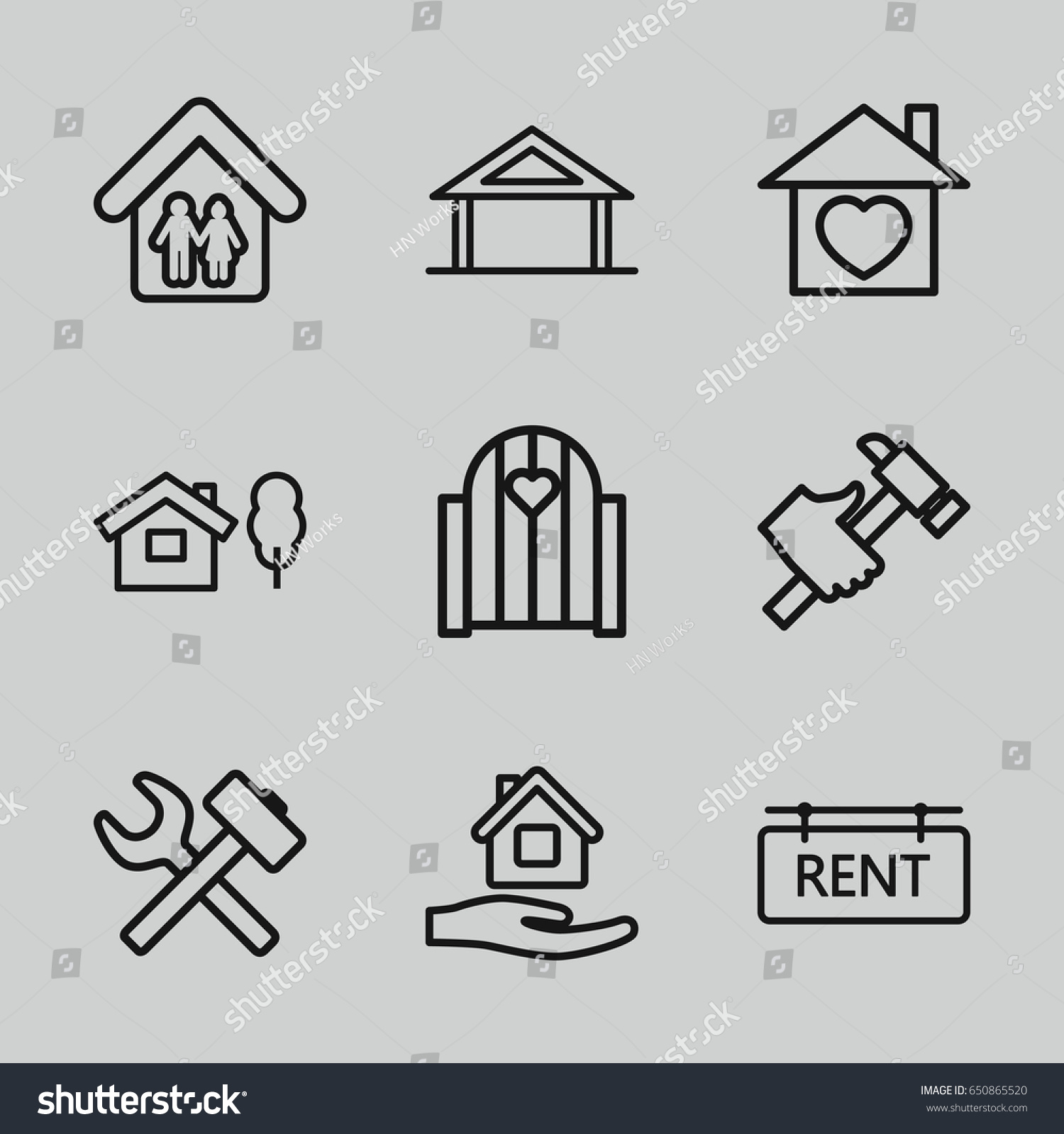 Property Icons Set Set 9 Property Stock Vector