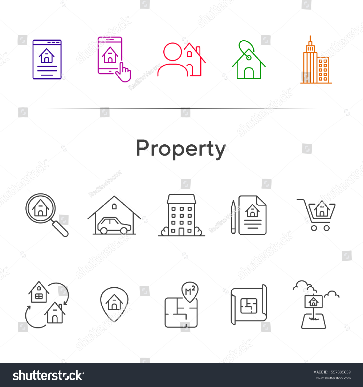 Property Line Icon Set House Garage Stock Vector Royalty Free 1557885659