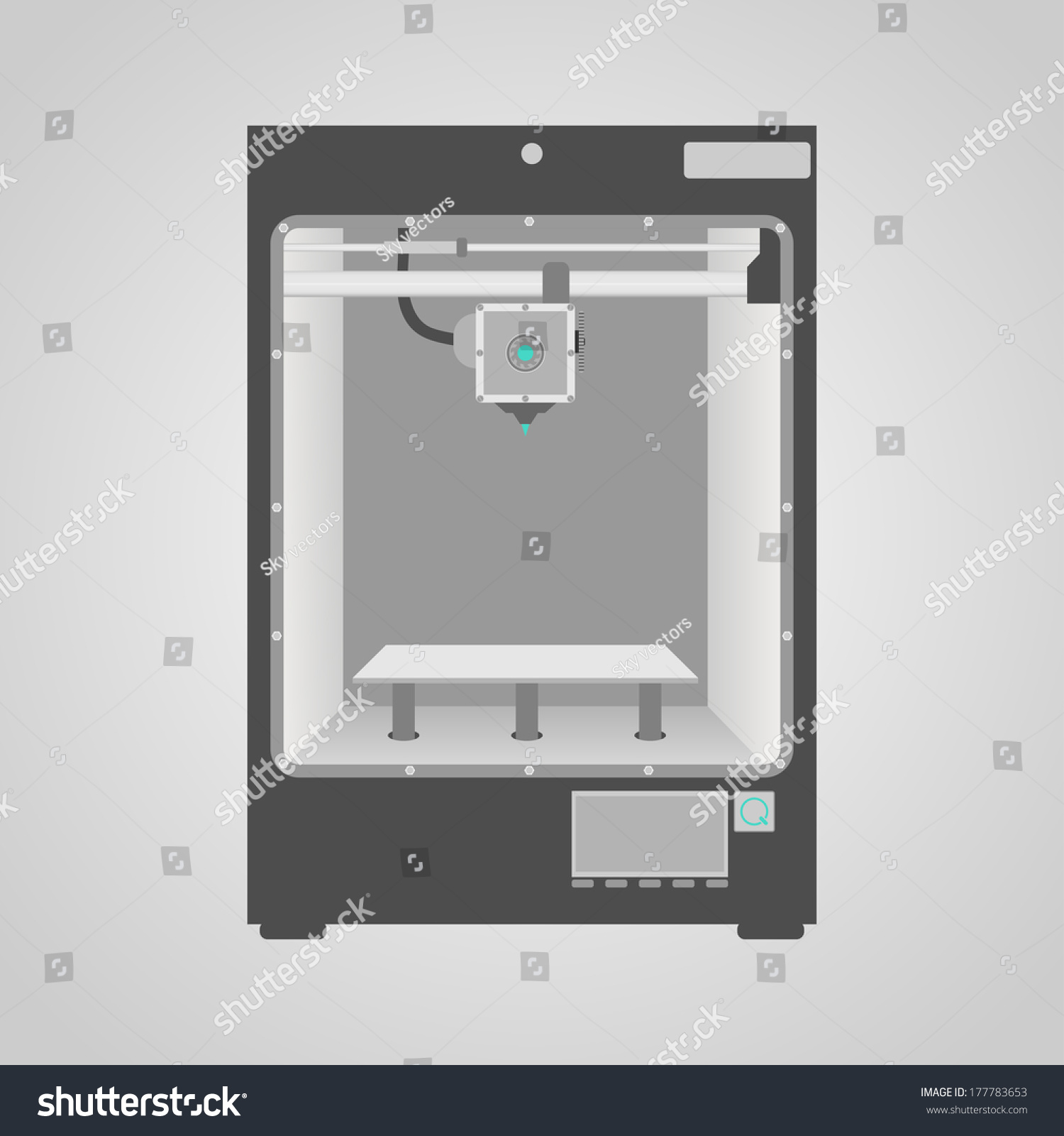 hight resolution of prototype model of 3d printer in gray and white colors easy to place inside printer