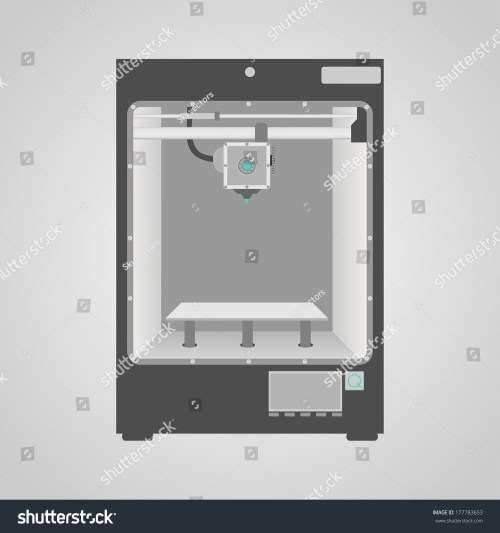 small resolution of prototype model of 3d printer in gray and white colors easy to place inside printer