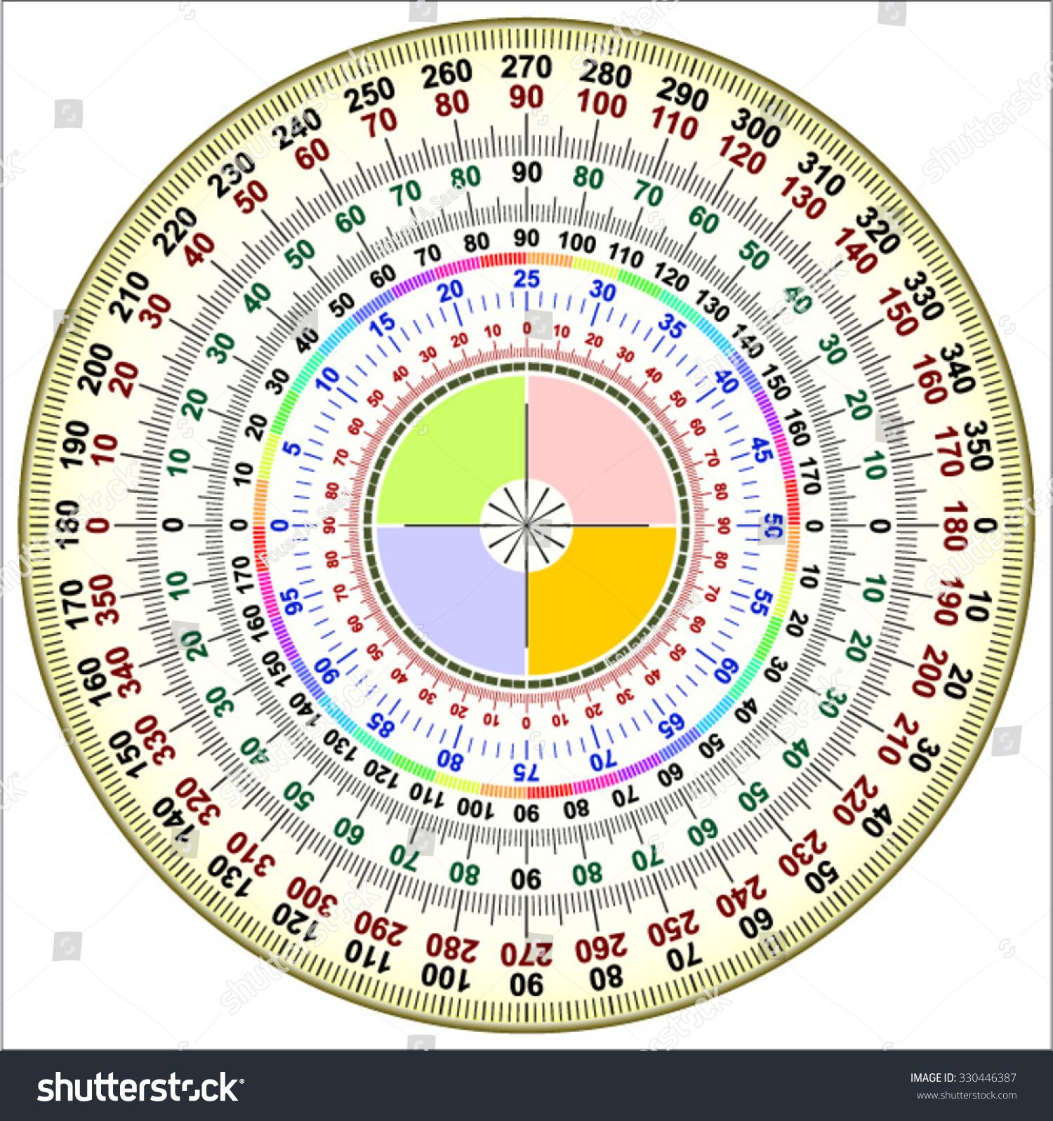 degree circle diagram 91 honda civic radio wiring protractor actual size graduation stock vector 330446387