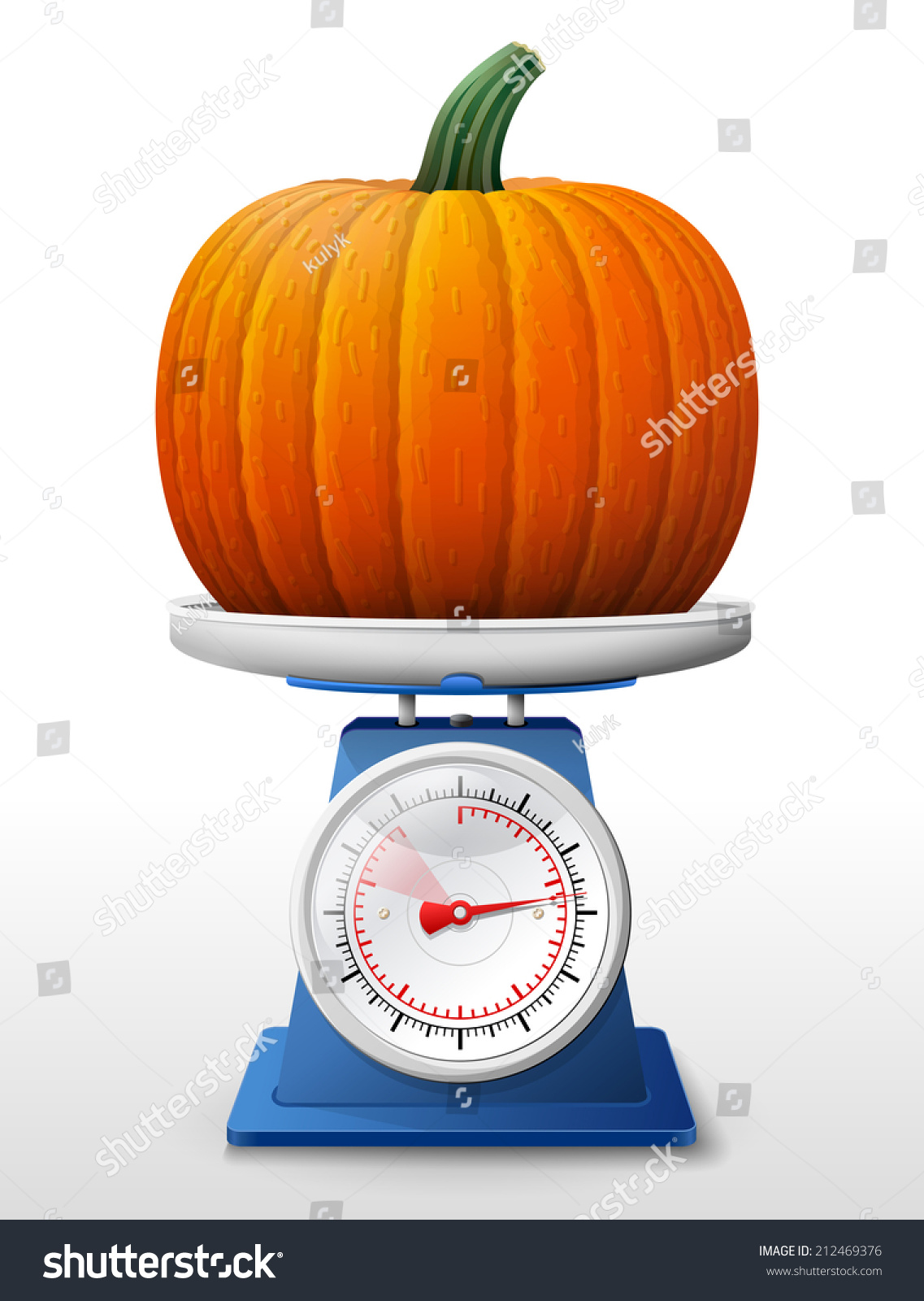 Pumpkin Fruit On Scale Pan Weighing Winter Squash On