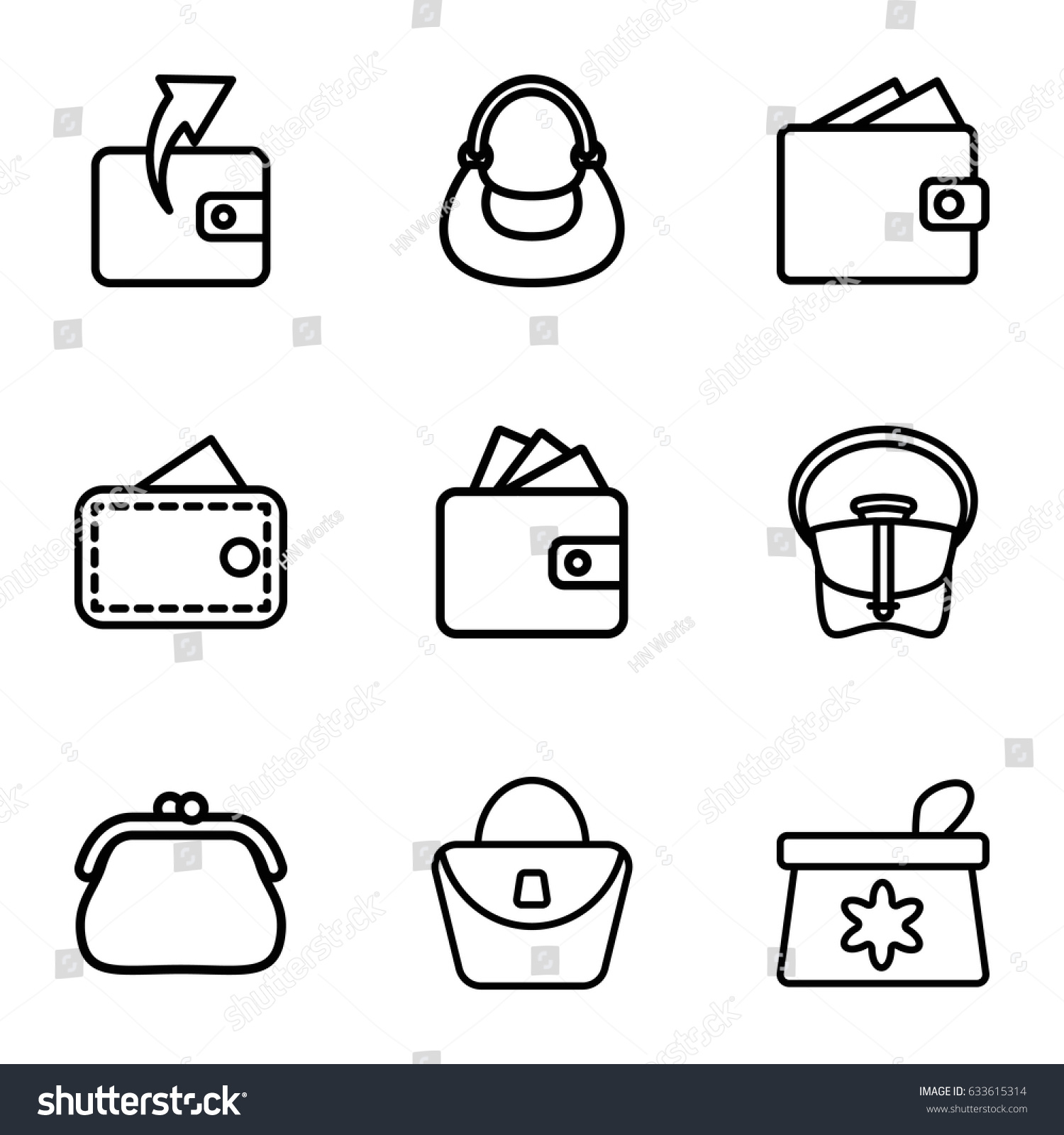 hight resolution of purse icons set set of 9 purse outline icons such as make up bag