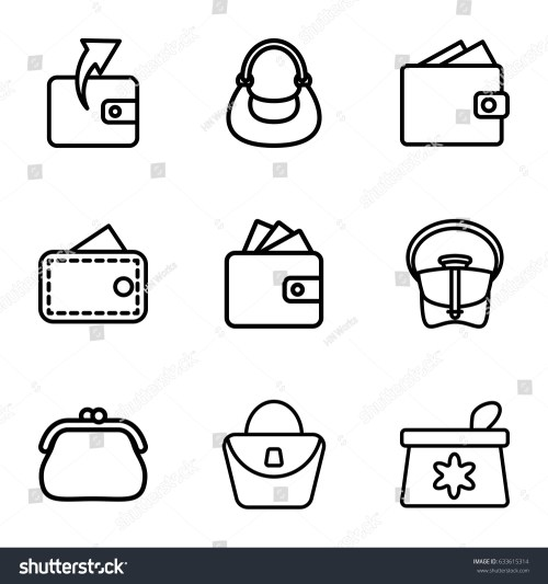 small resolution of purse icons set set of 9 purse outline icons such as make up bag