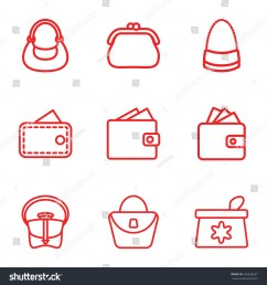 purse icons set set of 9 purse outline icons such as make up bag woman bag wallet bag wallet vector [ 1500 x 1600 Pixel ]