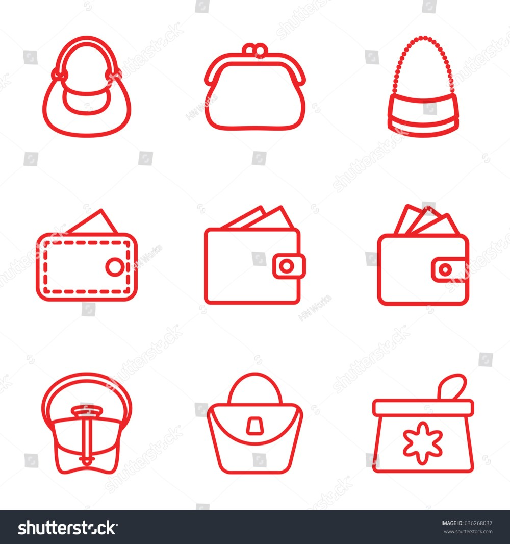 medium resolution of purse icons set set of 9 purse outline icons such as make up bag woman bag wallet bag wallet vector