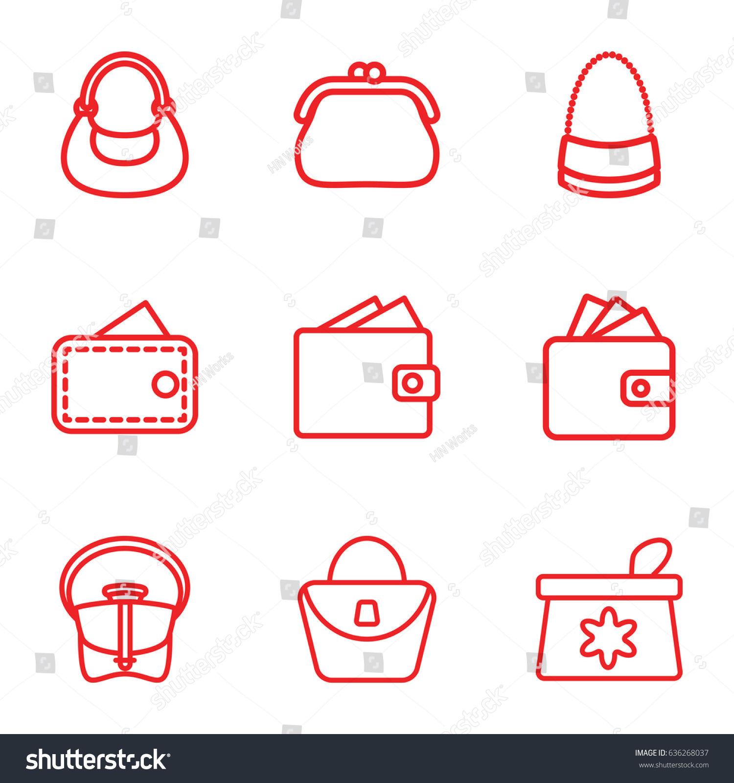 hight resolution of purse icons set set of 9 purse outline icons such as make up bag woman bag wallet bag wallet vector