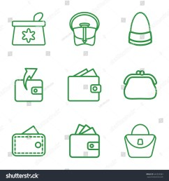 purse icons set set of 9 purse outline icons such as make up bag  [ 1500 x 1600 Pixel ]