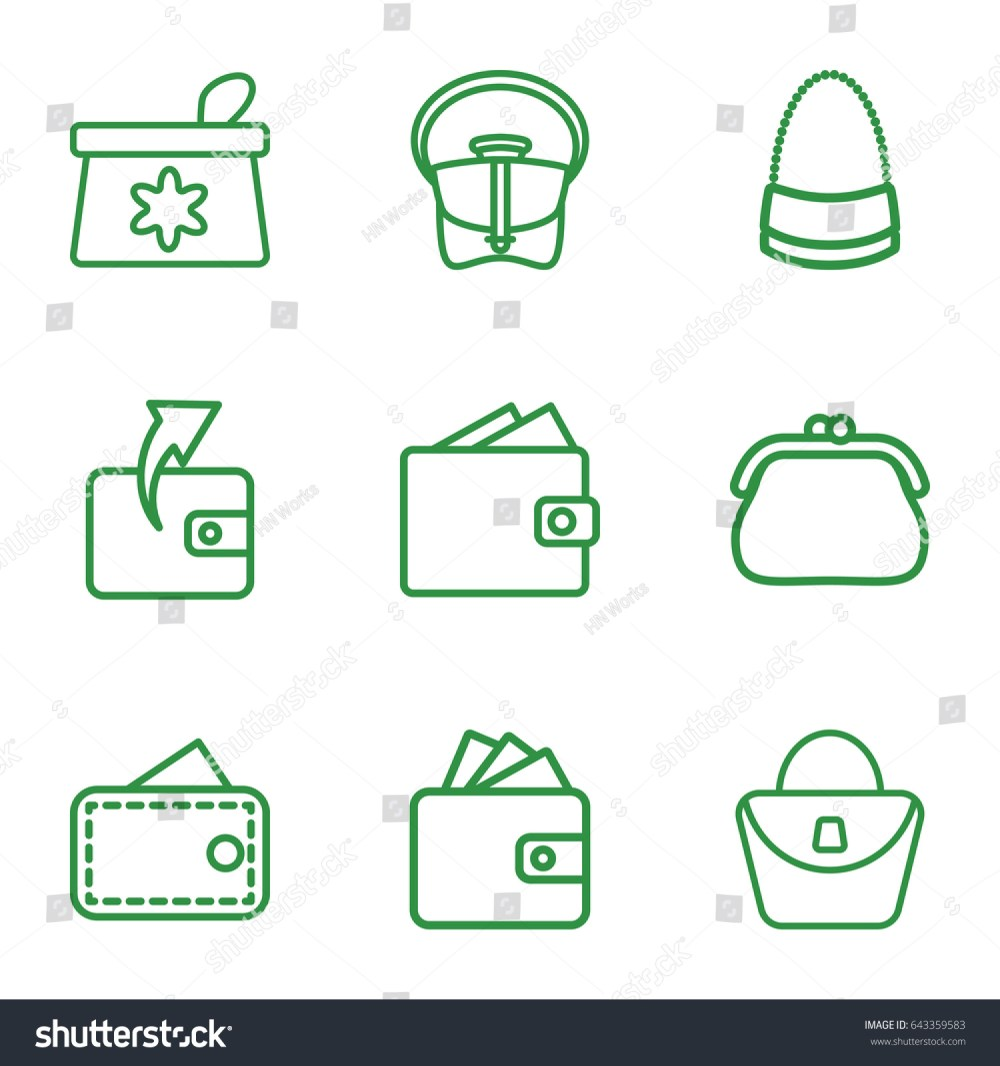 medium resolution of purse icons set set of 9 purse outline icons such as make up bag