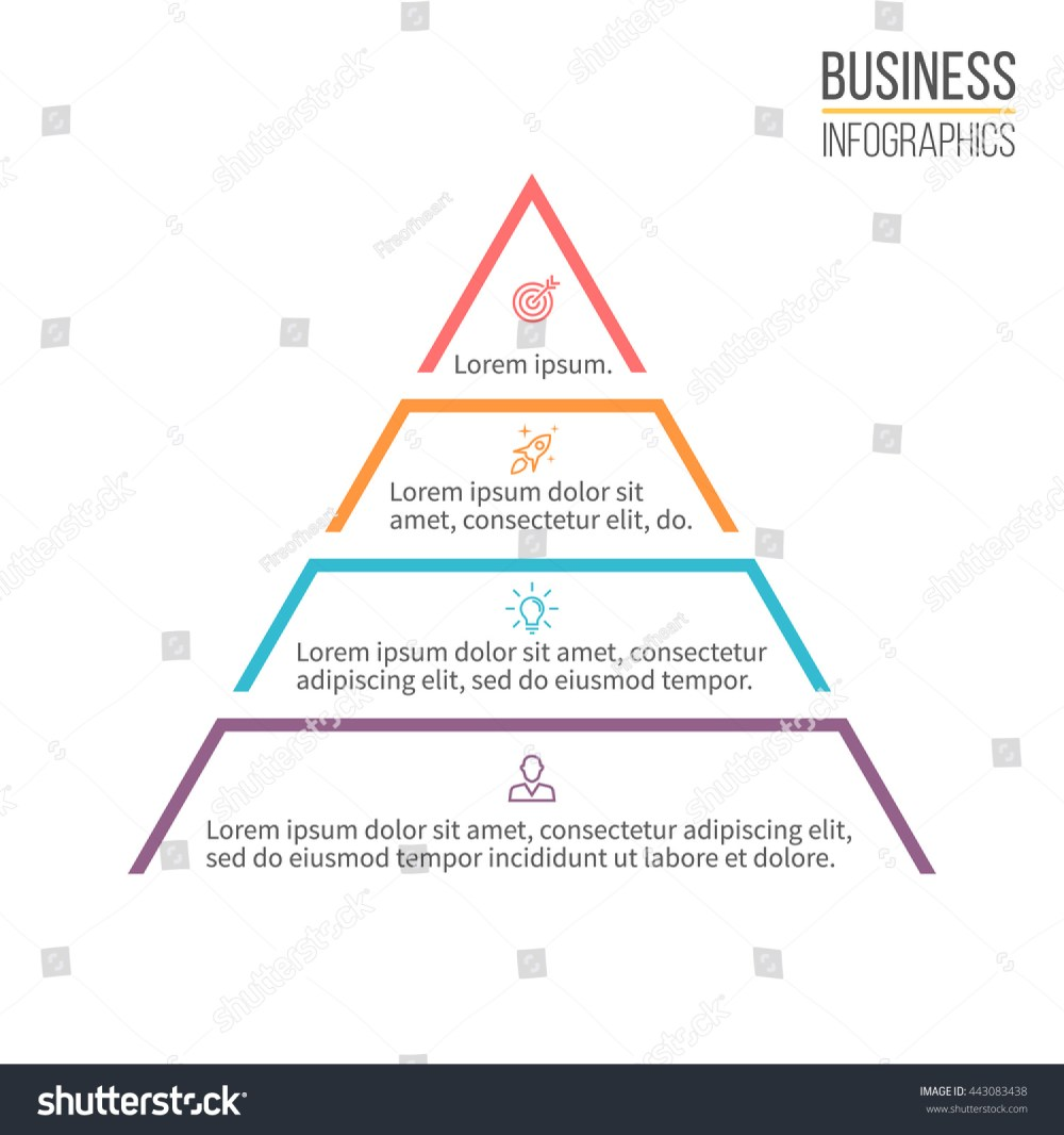 medium resolution of pyramid for infographics minimalistic diagram chart with 4 steps levels vector design