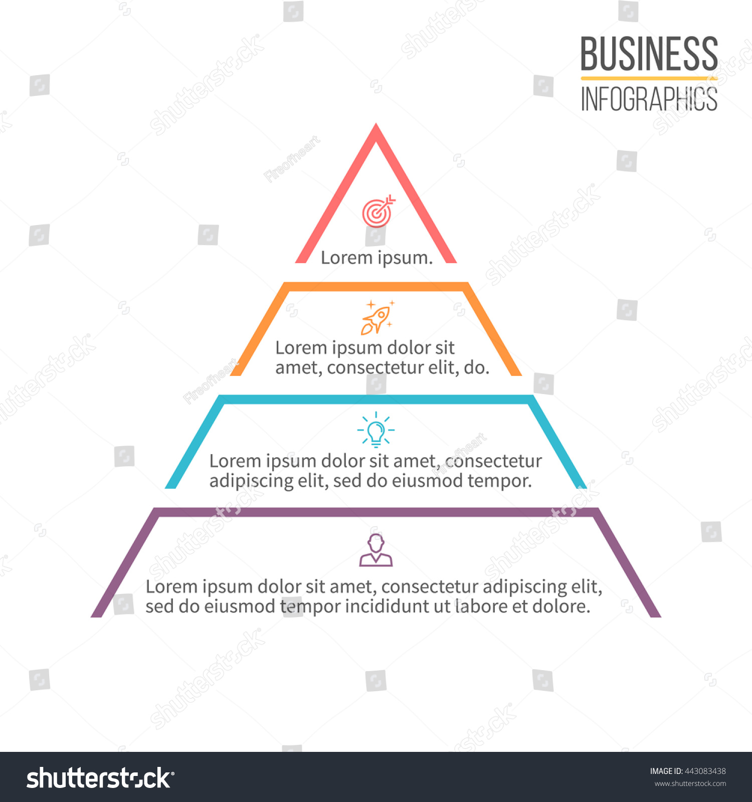 hight resolution of pyramid for infographics minimalistic diagram chart with 4 steps levels vector design