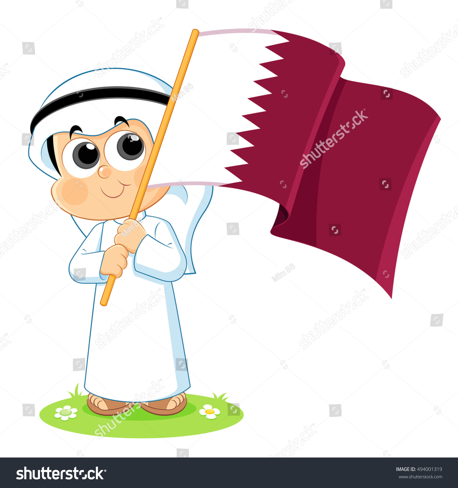 Stock Vector Qatar National Day Celebration Khaliji Kids