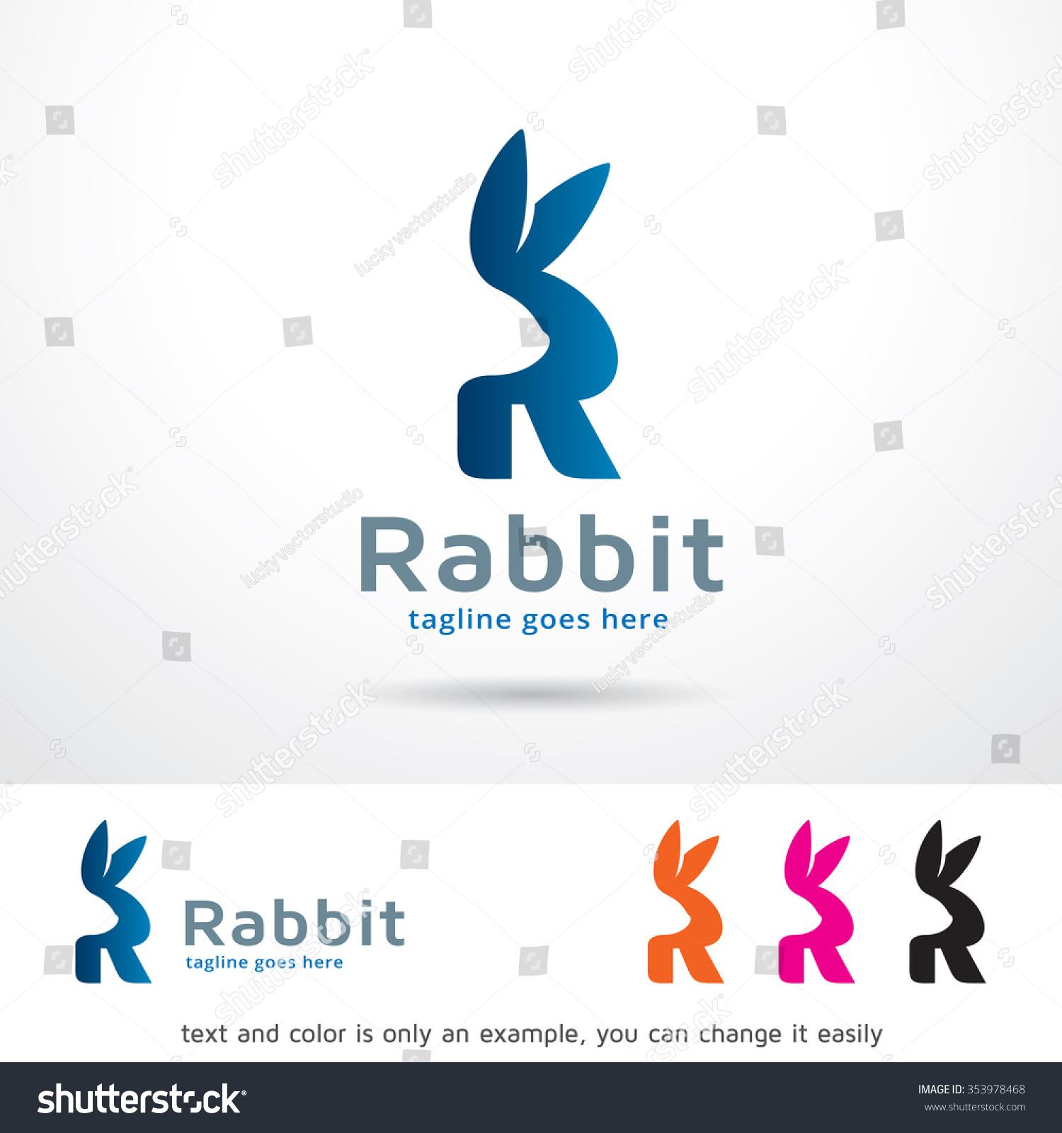 Rabbit Letter R Logo Template Design Vector