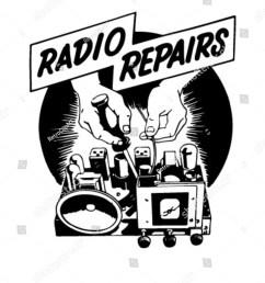 radio repairs ad header retro clipart [ 1200 x 1600 Pixel ]