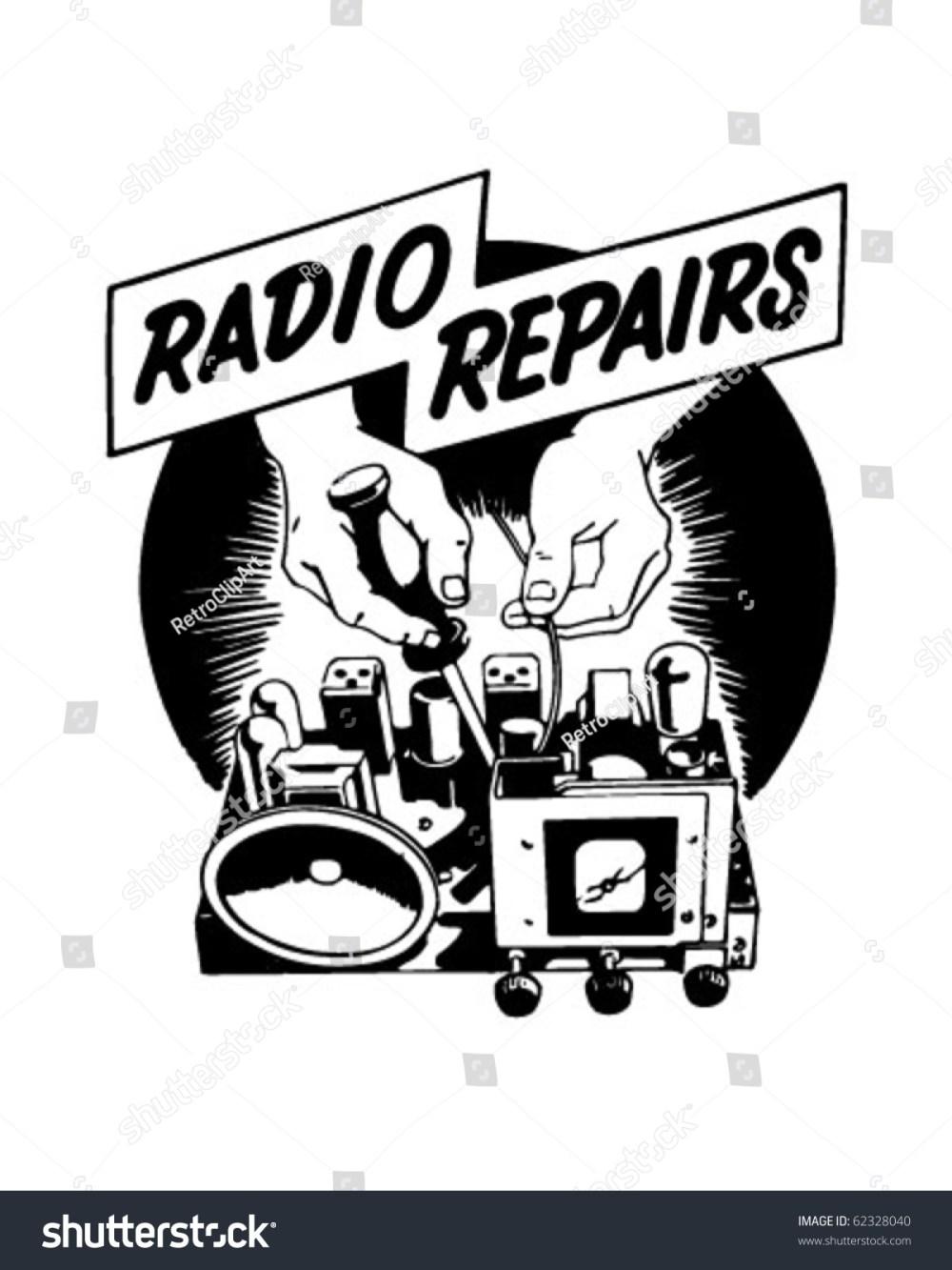 medium resolution of radio repairs ad header retro clipart