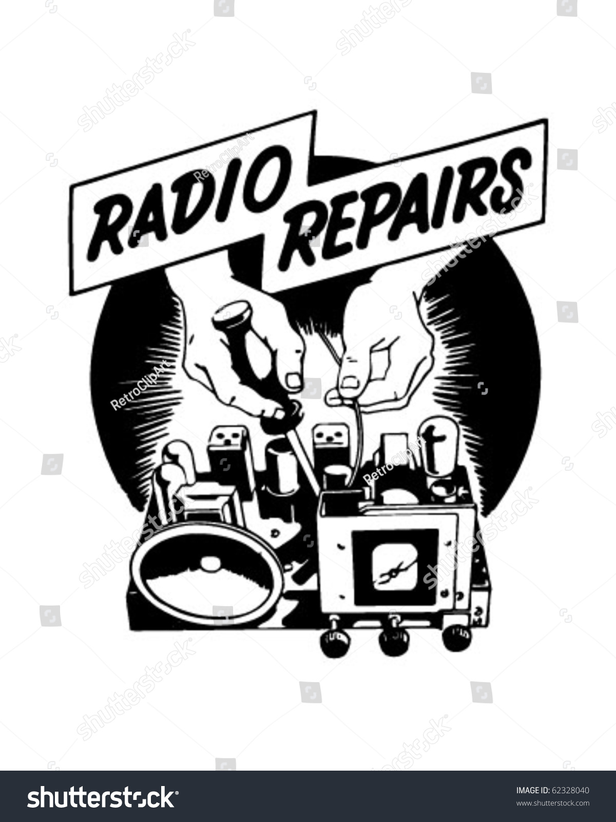 hight resolution of radio repairs ad header retro clipart