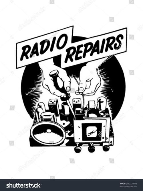 small resolution of radio repairs ad header retro clipart