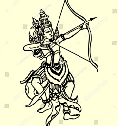 rama archery pose traditional hand drawing illustration style classic ramayana story book  [ 1104 x 1600 Pixel ]