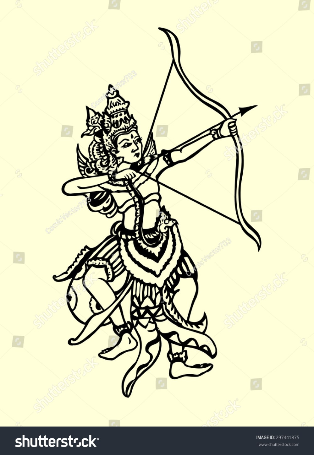 medium resolution of rama archery pose traditional hand drawing illustration style classic ramayana story book