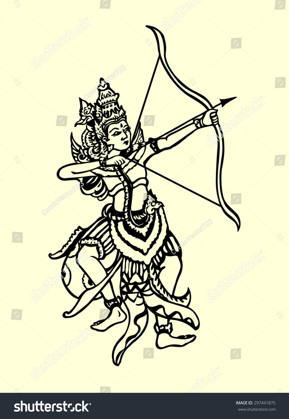 hight resolution of rama archery pose traditional hand drawing illustration style classic ramayana story book