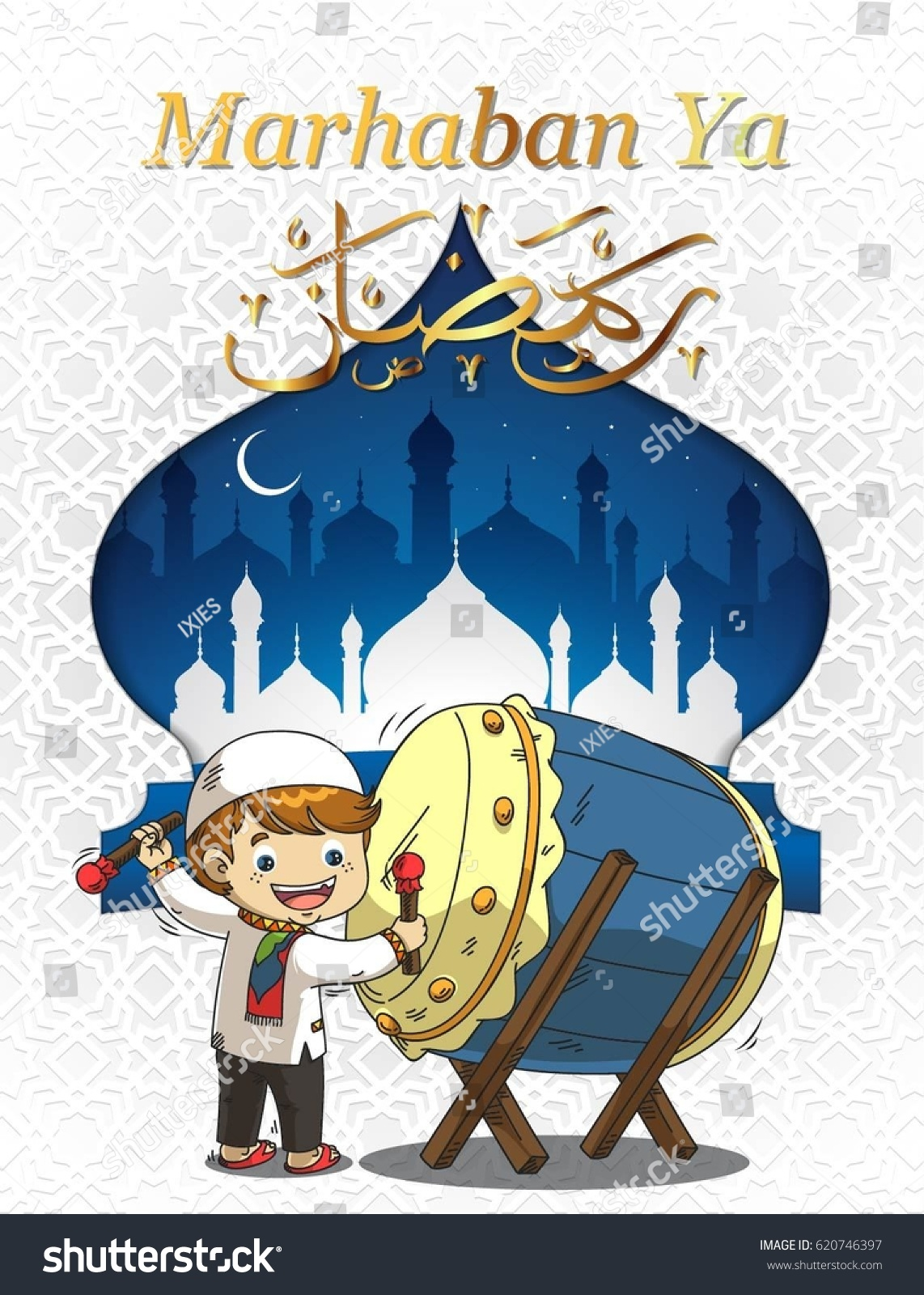 Marhaban Ya Ramadhan Kartun : marhaban, ramadhan, kartun, Ramadhan, Kareem, Cartoon, Playing, Bedug, Stock, Vector, (Royalty, Free), 620746397