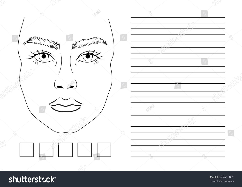 Ready Printing Landscape Orientation Face Chart Vectores En Stock