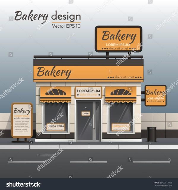 Realistic Vector Bakery Facade Sign Design Stock