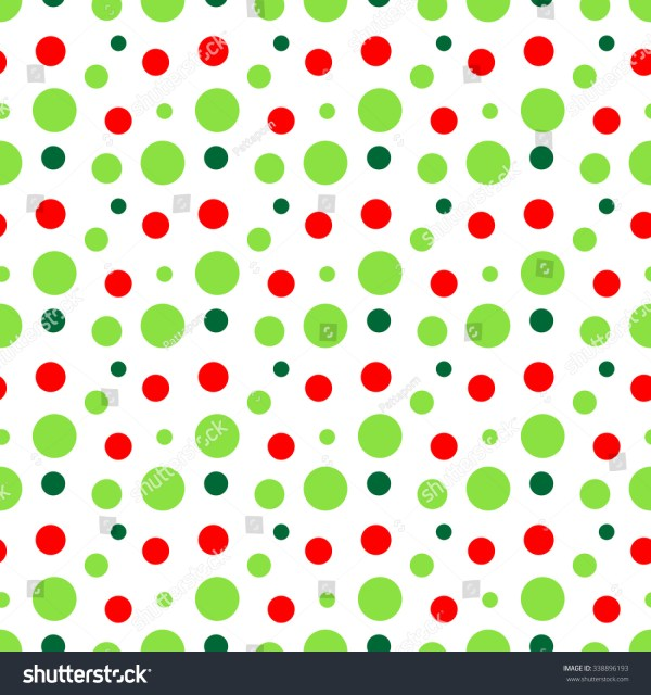 Red Green White Modern Polka Dot Pattern Seamless