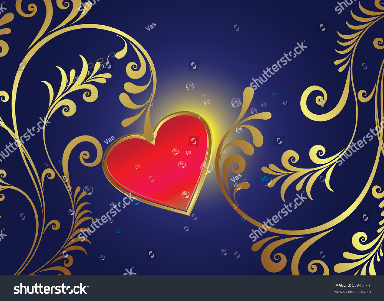 Red Heart On Blue Background Stock Vector Illustration