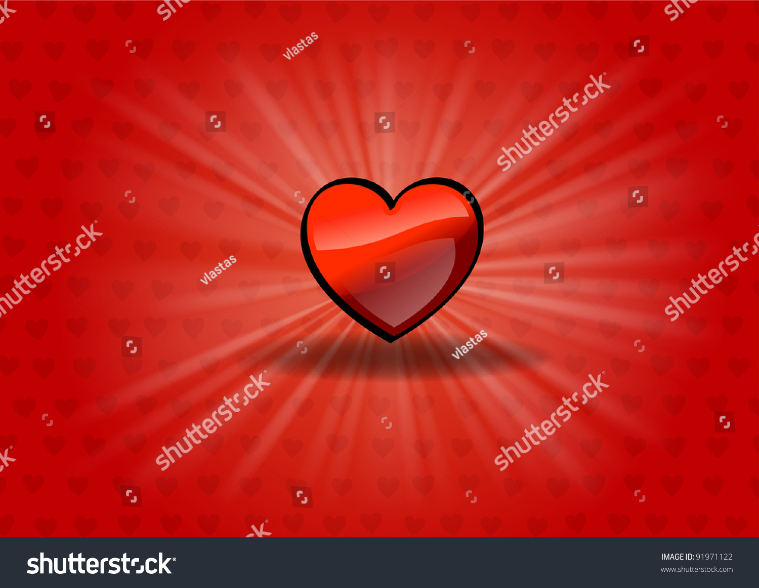 Red Heart On The Shining Background Stock Vector