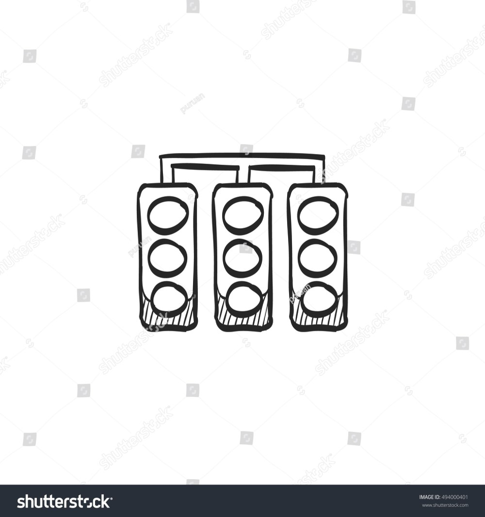 medium resolution of red light sign icon in doodle sketch lines traffic road signal stoplight street