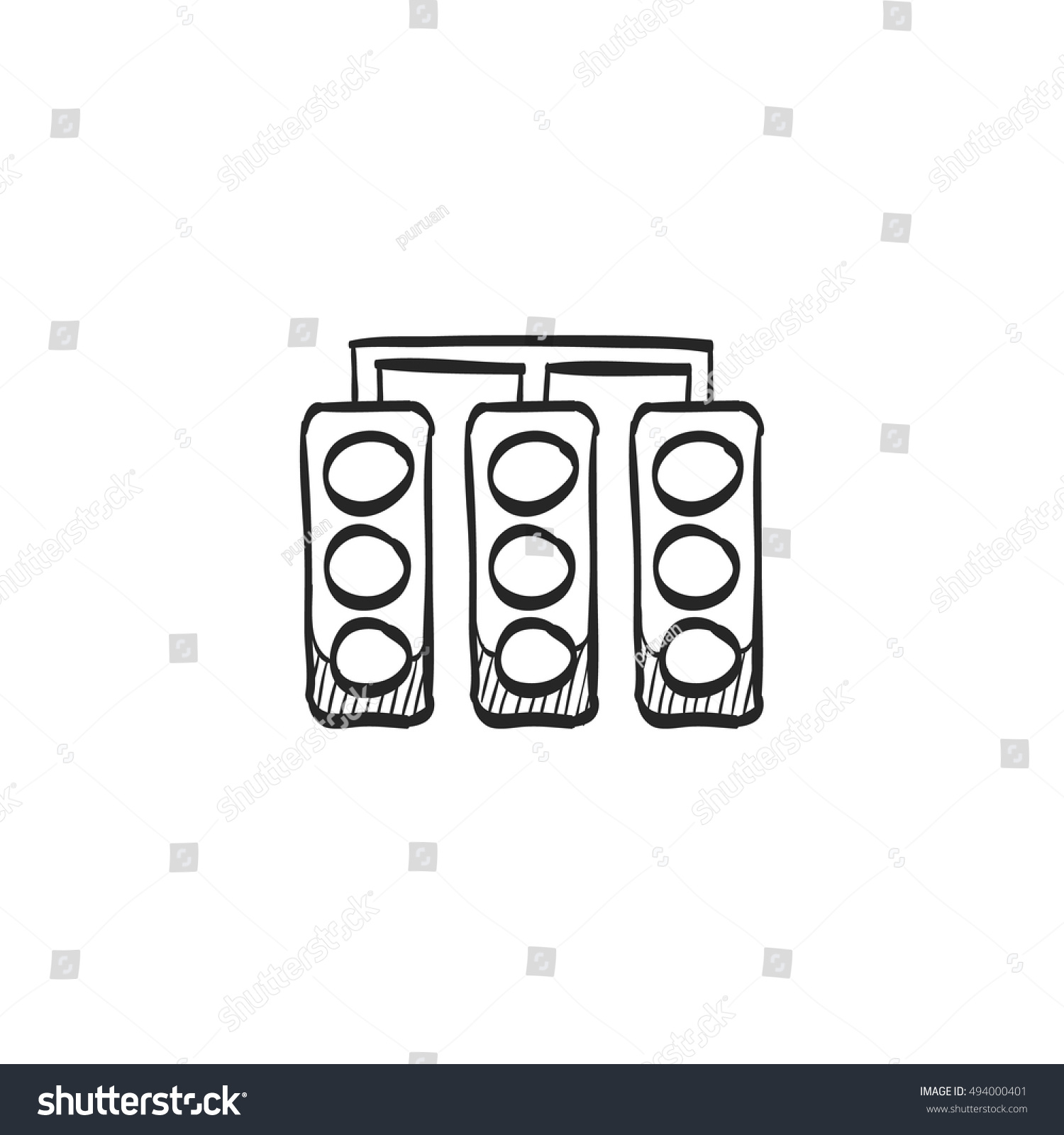 hight resolution of red light sign icon in doodle sketch lines traffic road signal stoplight street