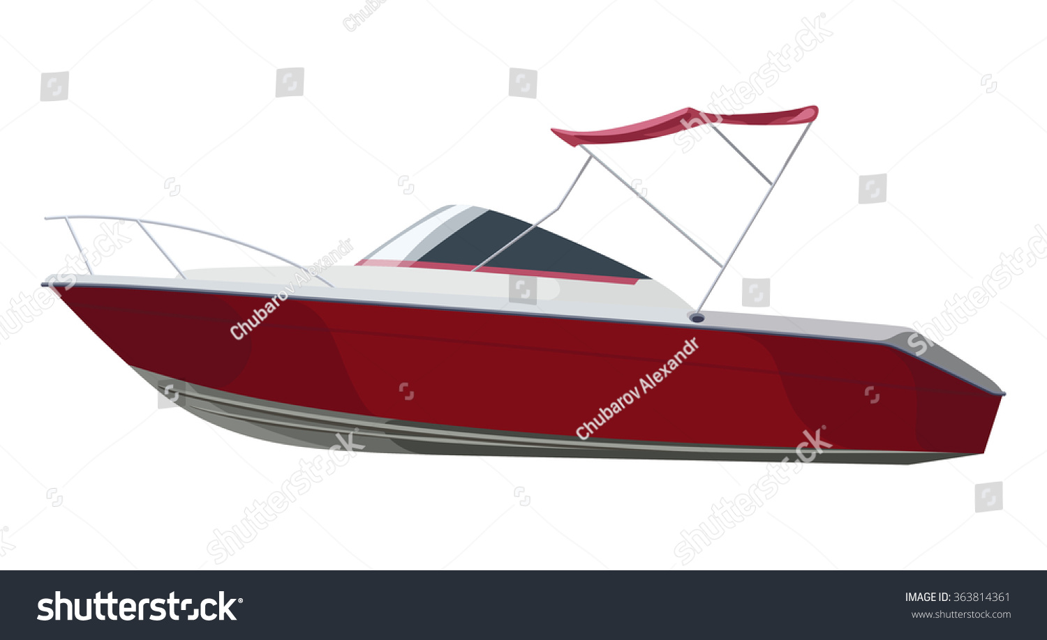 Red Motorboat On Transparent Background Stock Vector