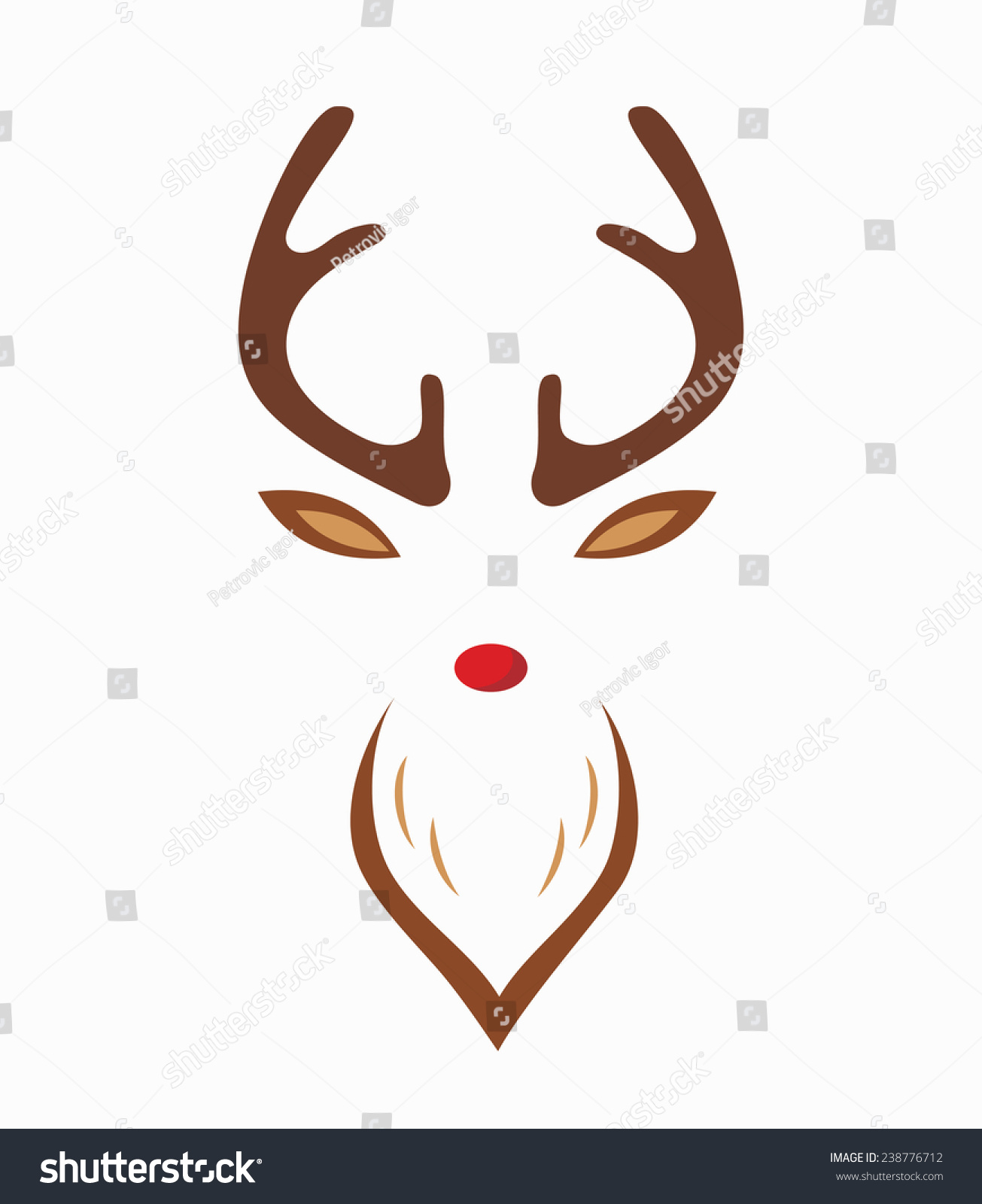 Red Nosed Reindeer With Red Nose Template Vector