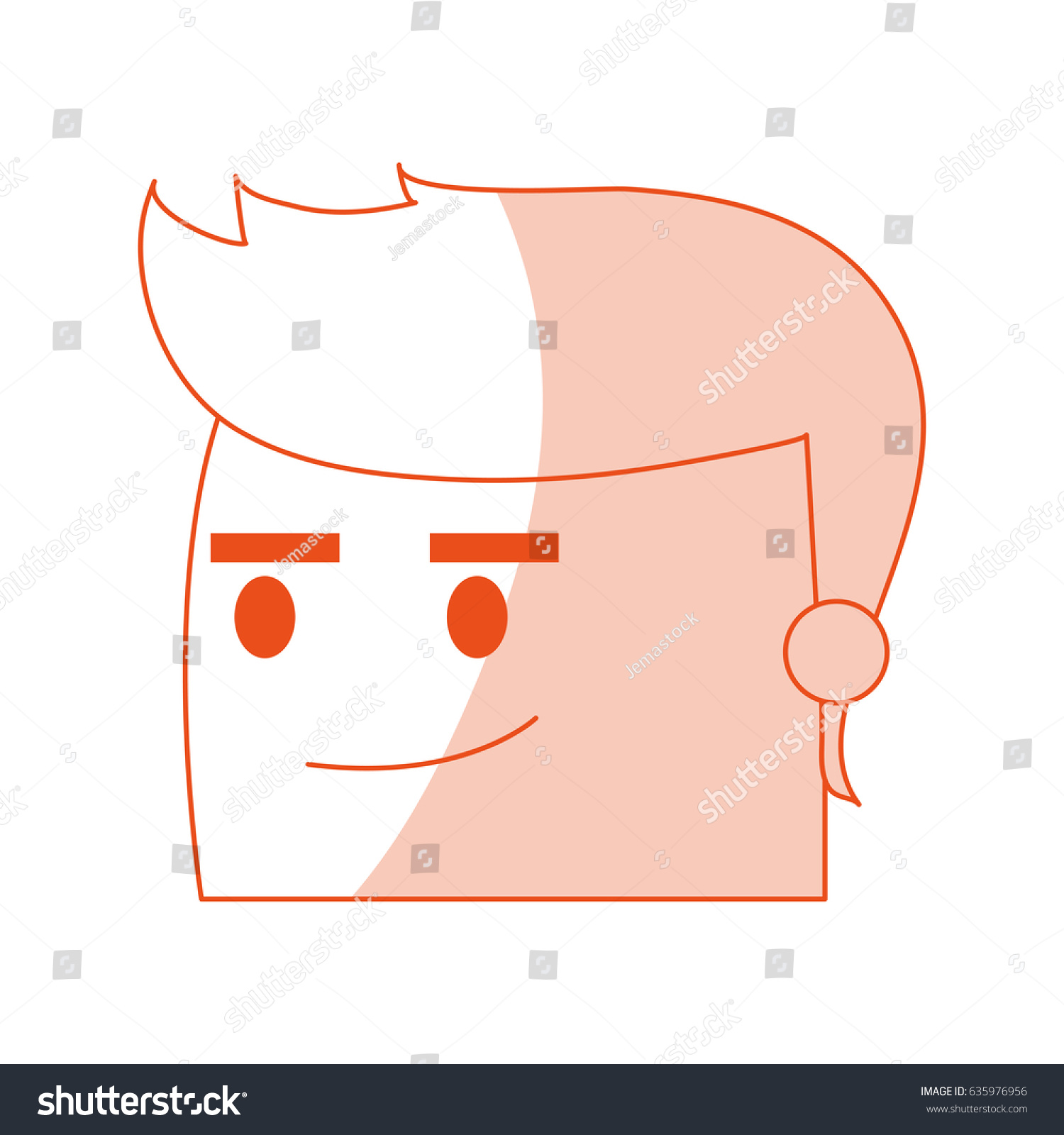 hight resolution of red silhouette image side view face cartoon guy with expression of satisfaction
