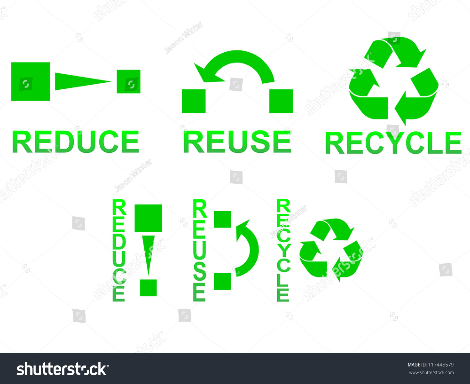 Reduce Reuse Recycle Symbols Concept Illustration Stock