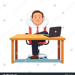 Office Chair Vector Covers Christmas Relaxed Business Man Entrepreneur Sitting Stock