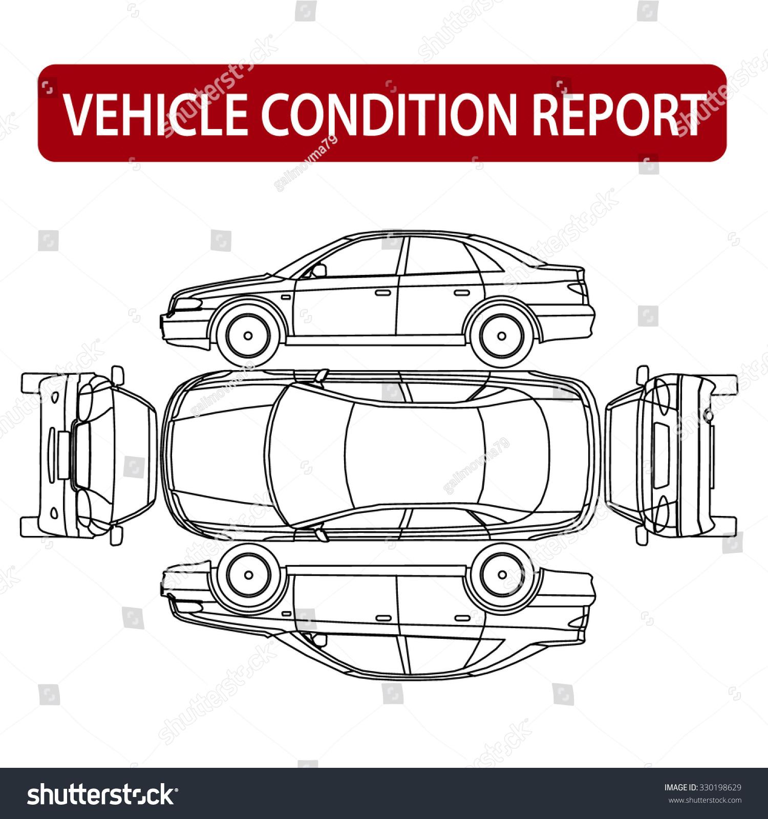 commuter van damage inspection diagram bobcat the animal rental car condition form vehicle checklist stock vector