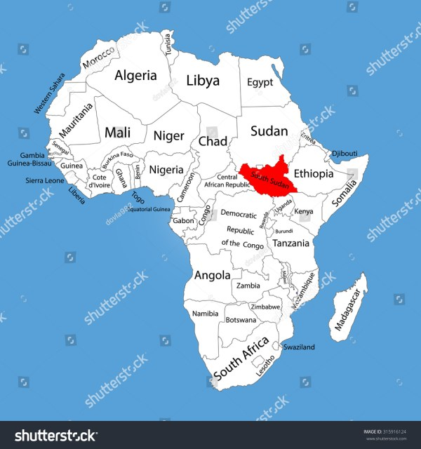 Republic South Sudan Vector Map Silhouette Stock Vector