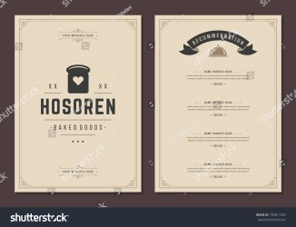 menu vector brochure restaurant silhouette shutterstock bakery bread template