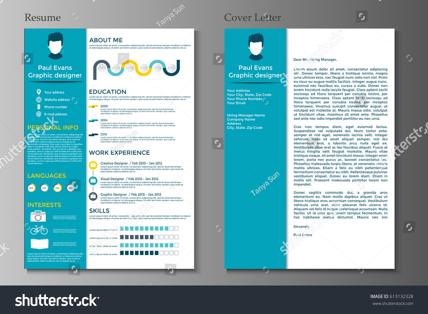 Resume Cover Letter Collection Modern Cv Stock Vector 613132328  Shutterstock