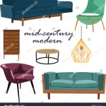 Retro Furniture Collection Set Elements Realistic Stock