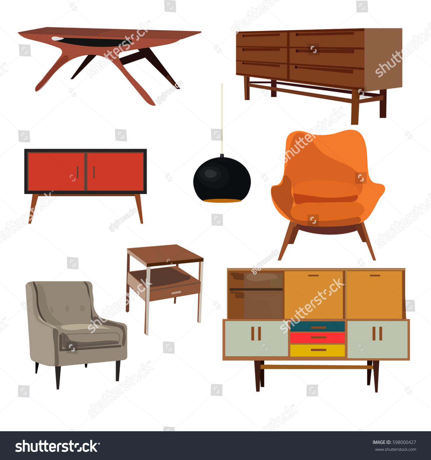 Retro Furniture Set Collection Danish Home Stock Vector