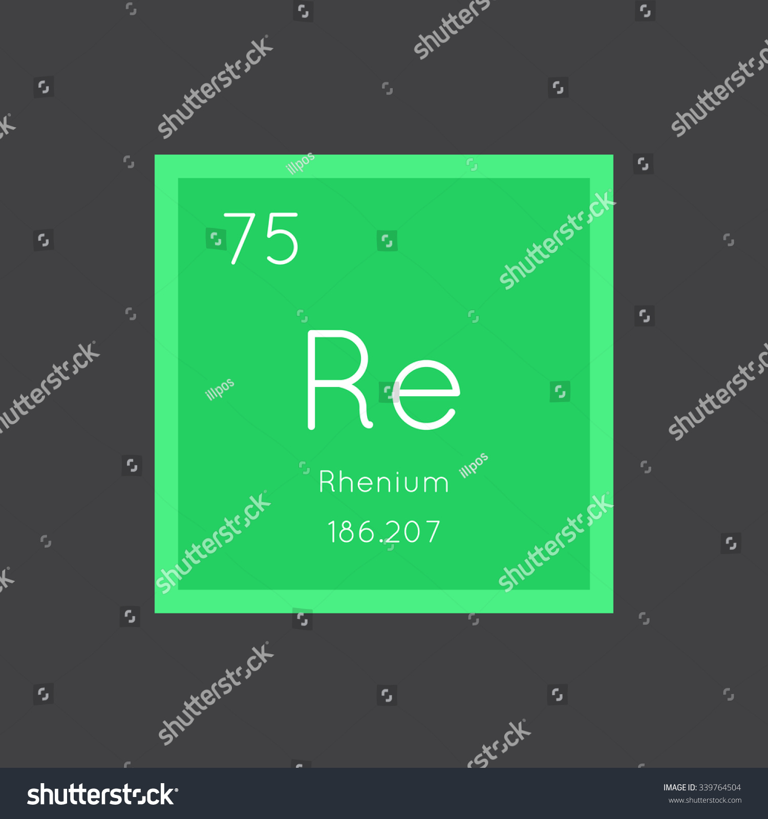hight resolution of rhenium simple style tile icon chemical element of periodic table vector illustration eps8