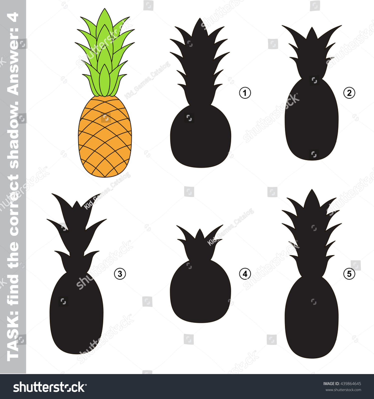 Ripe Pineapple Different Shadows Find Correct Stock Vector