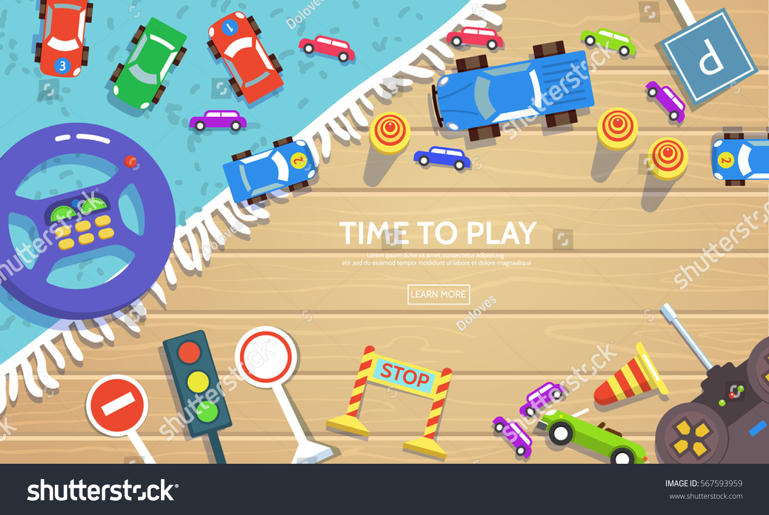Road Safety Kid Template Flat Stylevector Stock Vector